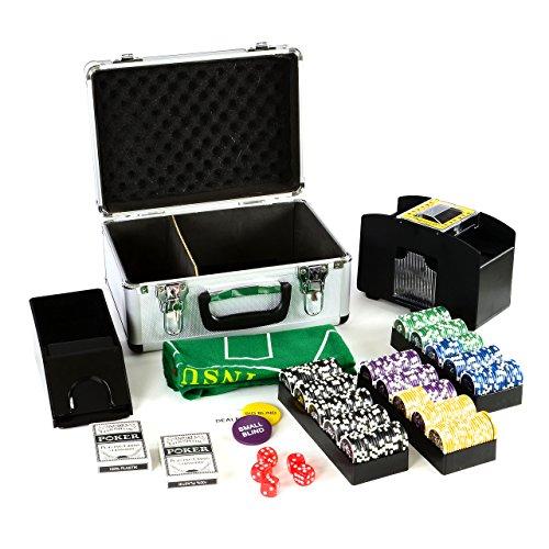 Pokerkoffer Deluxe Pokerset mit 300 Ocean Champion Chips mit viel Zubehör Kartenmischer Kunststoffkarten Kartengeber Spielmatte Poker-Komplettset Black Jack Texas Holdem