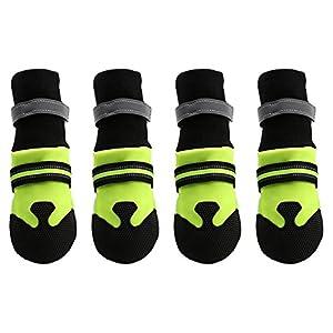 Magic Zone étanche Chaussures de chien Tissage Bottes pour chien réfléchissant Sangles Velcro et semelle antidérapante, Vert fluo, 4pcs