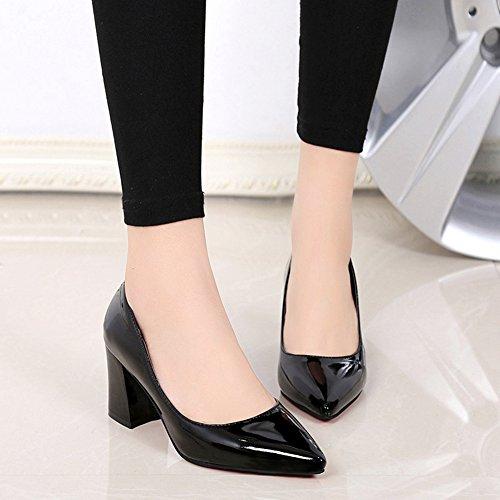 Damen Pumps Spitz Zehen Slip On Blockabsatz Lackleder Einfache Lässig Schuhe Schwarz