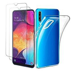 Satacnut [2 Stück] Panzerglas Galaxy A50 + Handyhülle, Transparent Silikon,Schutzfolie für Galaxy A50,Kratzfeste Soft TPU für Handyhülle Galaxy A50