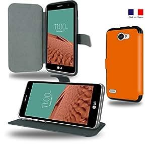 Housse Etui portefeuille orange fonçé LG L bello 2 avec fonction support vidéo - Protection fabriqué en France