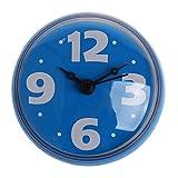TOOGOO(R) Reloj Impermeable 2.75 Pulgada con Ventosa Clara para Pared del bano Decoracion de La Pared del Hogar Azul
