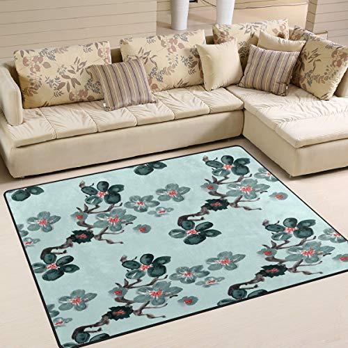 Use7 Teppich, japanische Kirschblüte, Bohemian-Stil, Aquarell-Teppich, für Wohnzimmer, Schlafzimmer, Textil, Multi, 160cm x 122cm(5.3 x 4 feet)
