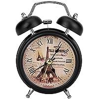 FTVOGUE Despertador Mini Reloj de Alarma de Metal con Silenciamiento Digital con Luces Antiguo Reloj Despertador