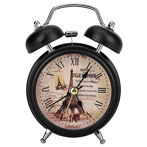 Garosa Reloj Despertador de Metal Ultra Silencioso, Reloj de Cuarzo de Estilo Retro Clásico para Escritorio, Cabecera de Viaje(Black)