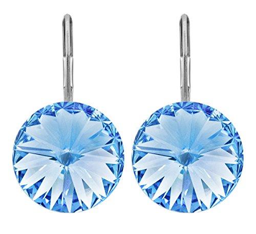 petra kupfer Damen Ohrringe Ohrhänger Rivoli 1 Swarovski®-Kristall 12 mm Blau Light Sapphire Versilbert hk12tb-light-sapphire -