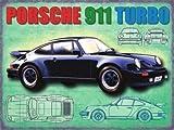 Porsche 911 Turbo in Noir. Rear engine Allemand classique dans le Années 60 to présent. Années 80 version avec draft dessins. VAG groupe. Pour à l'essence frontale,garage,maison/pub Métal/