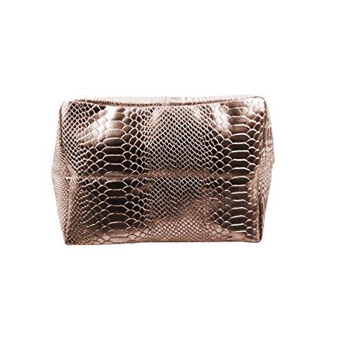 FreyFashion - Made in Italy, Borsa tote donna Rosa Metallic Snake
