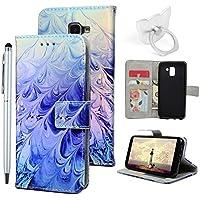 J6 2018 Handyhülle Flip Case für Samsung Galaxy,Idlehour PU Leder Case Cover Magnet Schutzhülle Tasche Skin Ständer Handytasche,Feder