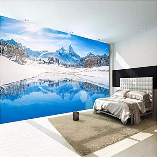 BIZI O Wandaufkleber tapete Wohnzimmer Wand 3D fototapete Winter Schnee See Dekoration Kunst Aufkleber wandbild,250 * 175 cm