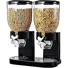 Dual ermetico dispenser di cereali e alimenti secchi con integrato Spill vassoio per la casa, cucina, piano di lavoro, colazione, Pets, cibo per gatti, cibo per cani, caramelle, dispensa, e pasti