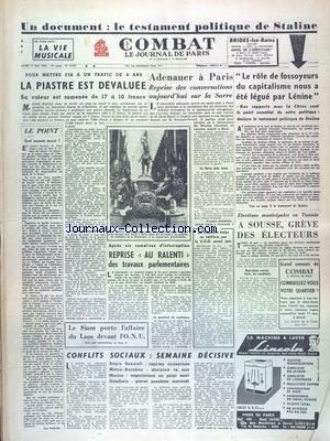 COMBAT [No 2753] du 11/05/1953 - LE TEST...