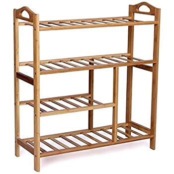 woodluv 4tier natural bamboo wooden shoe rack shelf holder storage organizer