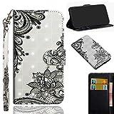 SZHTSWU Hülle für Alcatel 3V 5099D, 3D Gemalt Design PU Leder Tasche Brieftasche Flip Wallet Case Schutzhülle mit Kartenfächern, Schwarz Blumen