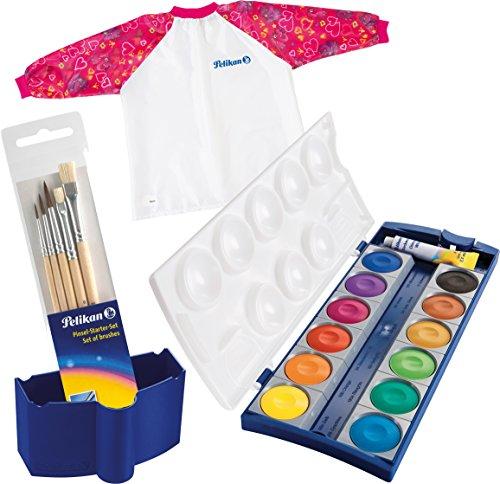 Pelikan 720250 Deckfarbkasten K12, 12 Farben + 1 Tube Deckweiß, Schul-Standard + Wasserbox + Pinselset + Malschürze (Girls Set)