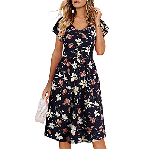 1d96982fab6c3e Kingko ® Damen Kleider Vintage Mini V-Ausschnitt Kurzarm Knöpfe Mit Gürtel  Streetwear Sommerkleid 3