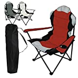 Linxor France  Chaise de camping pliable + Sac de transport - 3 Coloris - Norme CE - Rouge