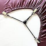 EVIICC 3-wege Verstellbare Bettlaken Spanner Bettlakenspanner Betttuchspanner, Spannbettlakenhalter mit Metallklammern für Bettlaken und dünne Bettdecken (Schwarz, 4 Stück)