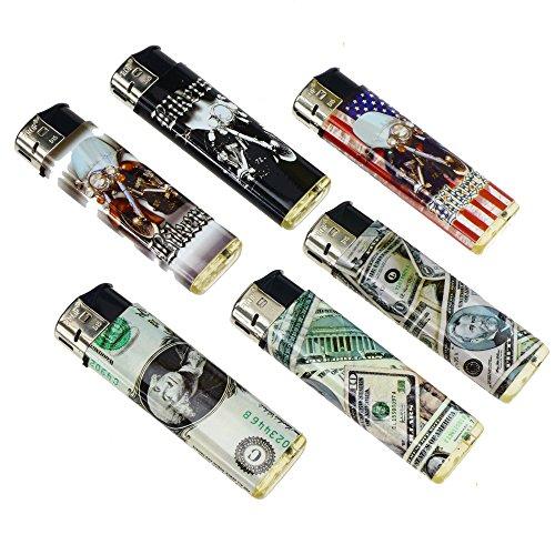 12 X Feuerzeug Piezo elektronisch | Motive Biker Dollar USA gemischt | Gasfeuerzeug