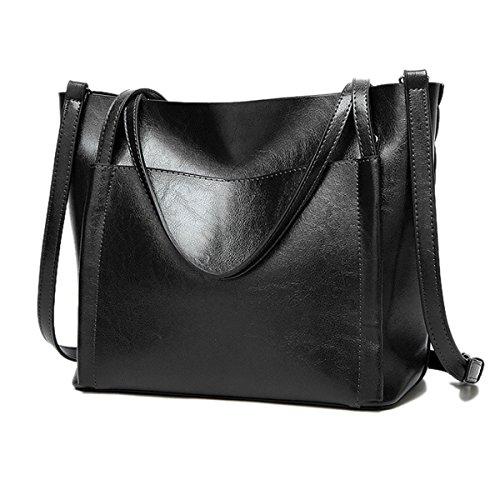 Donna Nuovo Moda Tutto-fiammifero Puro Colore Semplice Borsa A Tracolla Singola Black