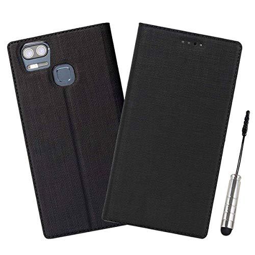 Guran® Hülle für ASUS ZenFone 3 Zoom ZE553KL (5.5 Zoll) PU Ledertasche Flip Cover Mit Kartensteckplatz Silikon TPU und Standfunktion Retro Stil Wallet case - (Schwarz)
