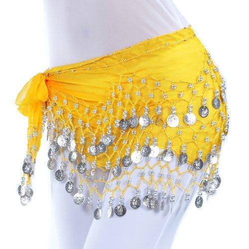 Dance Fairy Bauchtanz Hüfttuch / Wrap / Gürtel 3 Reihen Silber münzen Farben Verschiedenen gelb (Belly Dance Bh Tänzerin Tanzen)