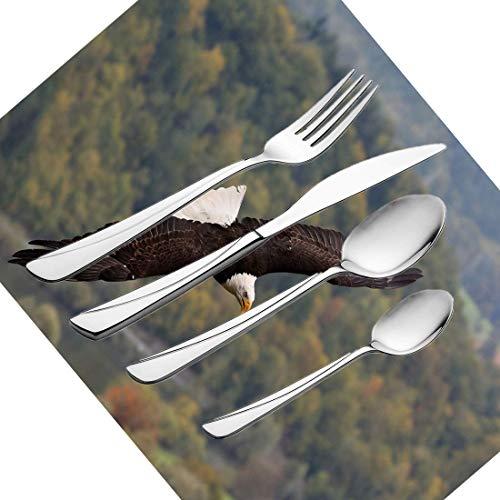 30-teiliges Besteckset, Besteckset aus rostfreiem Stahl von Eagle für 6 Personen, einschließlich Messer, Gabeln, Löffel, Teelöffel und Tischset, König des Himmels, der über den Wald fliegt und Berg -