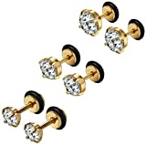 Flongo 6 Stück 5mm/7mm/9mm Edelstahl Ohrstecker Ohrringe Gold Golden Rund Zirkonia Gestüt Stecker Fakeplugs Fake Plug Tragus Piercing Stud Tunnel Ohrpiercing Ohrschmuck Herren, Damen