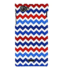 Fiobs Designer Back Case Cover for Sony Xperia J :: Sony Xperia J ST26i :: Sony Xperia J ST26a (Colorful Patterns Designs Black Zig Zag)