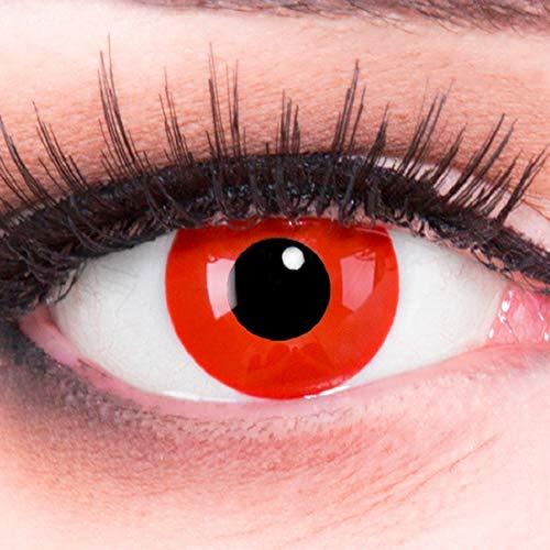Funnylens 1 Paar farbige Crazy Fun rote Teufel Red Devil Jahres Kontaktlinsen. Perfekt zu Halloween, Karneval, Fasching oder Fasnacht Vampir, Demon mit gratis Kontaktlinsenbehälter ohne Stärke!