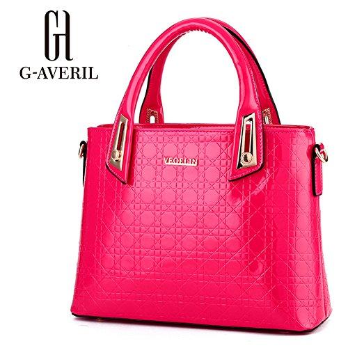 (G-AVERIL) Borse In Vera Pelle Designer Top-Handle Spalla Del Tote Della Borsa Per Le Donne rosa rossa