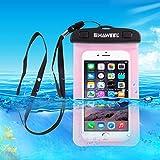 Unterwassergehäuse Tasche, HAWEEL® - Universal, Klar Spielraum-Beutel-Abdeckung für Handys, iPhones, Wertsachen in rosa (Inklusive optionaler Turnhallen-Armbinden und Taljereep)