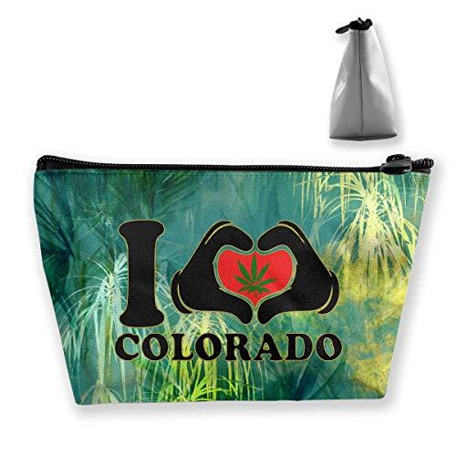 I Love Colorado Funny Weed Pot Leaf Marijuana 420 Toiletry Bag Womens Travel Cosmetic Bags Lightweight Waterproof Case -