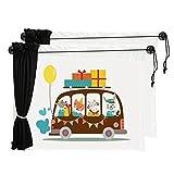 Chilsuessy 2er Sonnenblenden fuer Autoscheiben Cartoon Sonnenschutz fuer Kinder Baby Seitenscheiben Sonnenschutz fuers Auto Baby mit Vorhang, Tiere Bus