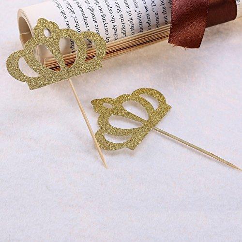 Crown Cupcak Topper Dekorative Tiara Cupcake Picks Zeichen für Party Kuchen Dekoration (Gold) ()