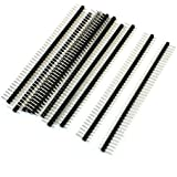 KTC CONS Labs 10 Pieces 40 Pin 1x40 Single Row Male 2.54 Breakable Pin Header Connector Strip for Arduino, Set of 10, Black (10 Pieces)