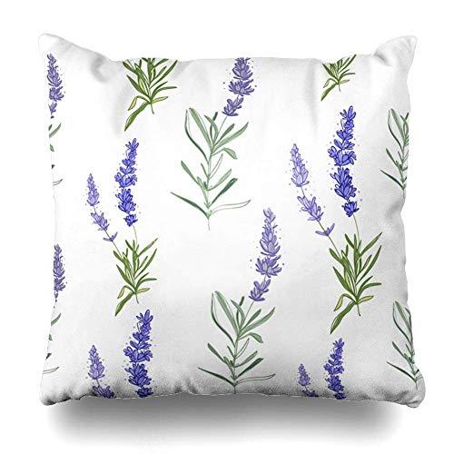 Housses Vintage Klotr Natural Botanical Floral Aroma Pillowcase Sketch Green Purple Square De Border Bloom Nature Size On Coussin Watercolor Lavender zVMUpS