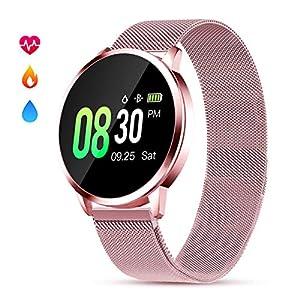 Smartwatch Damen mit Pulsmesser Fitness Armbanduhr GOKOO Wasserdicht IP67 Uhren Tracker Aktivitätstracker blutdruck mit Kalorienzähler Schlafmonitor für Frauen für Android IOS (Rosa)