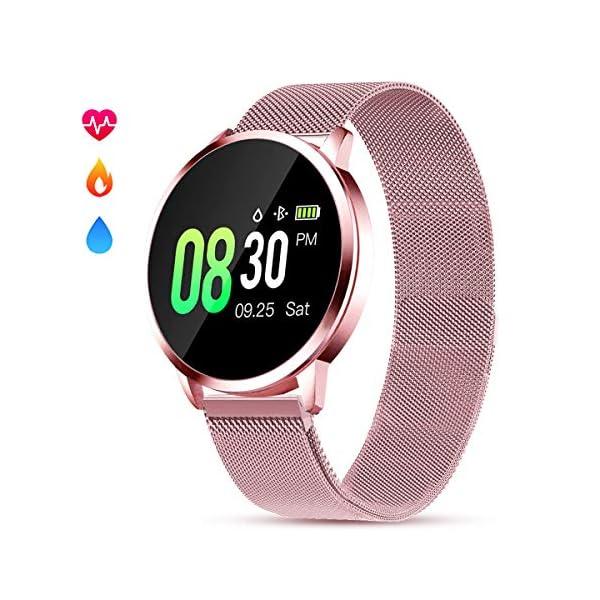 Smartwatch Mujer Rosa Impermeable Reloj Inteligente Elegante Fitness con Monitor Impermeable IP67 con Monitor de Sueño Pulsómetros Podómetro Contador de Caloría Compatible con iOS Android 1