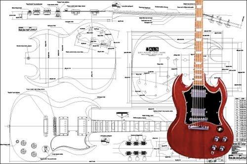 Plan de Gibson SG guitarra eléctrica-escala completa impresión