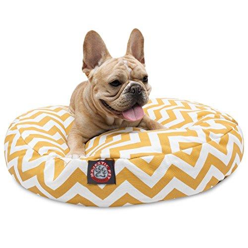 ein Indoor Outdoor Pet Hundebett mit abnehmbarer waschbarer Bezug von Majestic Pet Products (Gelb Chevron)