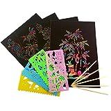 Healifty 59 stücke Regenbogen Scratch Kunstdruckpapier Regenbogen Farbe Scratch Off Papier mit Stencils Pens für Kinder DIY Craft Black