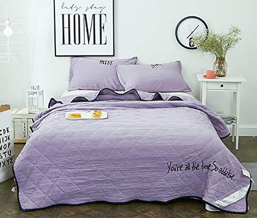 Liliya& Mode Sommer dünnen Abschnitt weicher Baumwolle waschen doppel/voll/große Quilt bettdecke einfarbig Jeans blau lila Kissenbezug, 100 * 150, E -