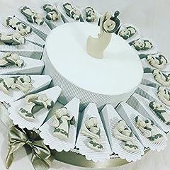 Idea Regalo - bomboniere matrimonio sposi stilizzati calamita a torta bomboniera con 20 fette e 1 centrale innamorati SB
