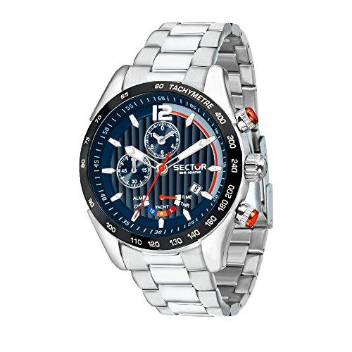 SECTOR Herren Chronograph Quarz Uhr mit Edelstahl Armband R3273794010 (Uhren Sector)