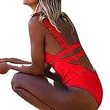 Bikini Sannysis Frauen Bademode Push-Up Gepolsterter Fester Rückenfreier BH Beachwear Einteiliger Badeanzug (S, Rot)