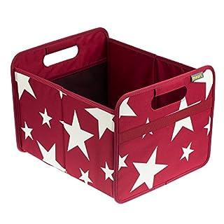 Meori Faltbox Classic Medium Bordeaux Rot/Sterne 32x37x27,5cm stabil abwischbar Polyester Schlafzimmer Kinderzimmer Bad Flur Ordnungssystem Regal Aufbewahren Verstauen