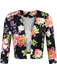 2fdc72391c25c Zeagoo Women s Plus Size Floral Print Collarless Open Front Blazer Cropped  Jacket