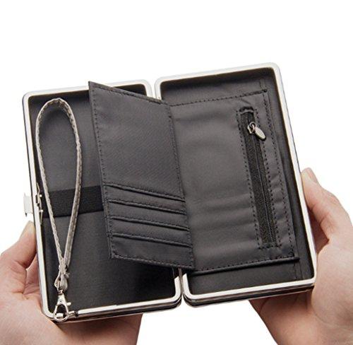 Katech Sacchetto di caso della cassa del sacchetto della frizione del supporto della carta di soldi di modo delle signore di raccoglitore delle grandi donne della borsa Nero