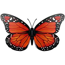 Inovey 10Pcs 12 Cm 3D Colorido Mariposa Wall Sticker Imán De Nevera Home Decor Art Apliques-Naranja